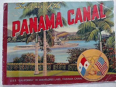 1930's Souvenir of the Panama Canal Booklet w/ USN Ships