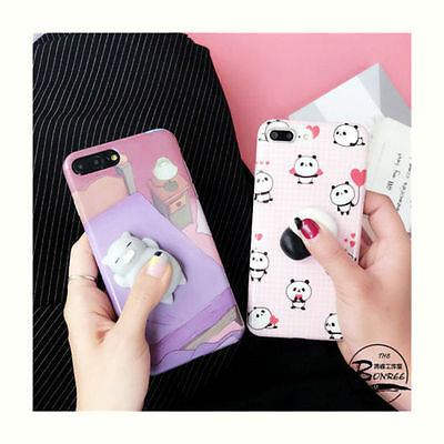 Cute 3D Cartoon Toy Cat Panda Soft Doll Phone Case Cover for iPhone 6/6S/7 Plus