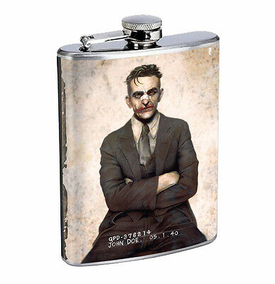 Flask Joker Mugshot 01R 8oz Stainless Steel Hip Drinking Whiskey