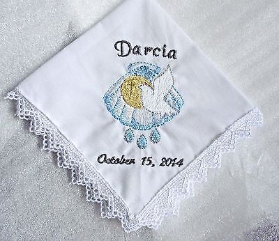 Baptism hankie - shell & dove Christening handkerchief - YOU ADD NAME & DATE