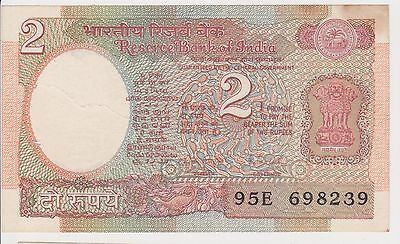 (N3-79) 1970s India 2 Rupees bank note (E)