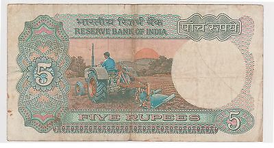 (N3-76) 1970s India 5 Rupees bank note (B)