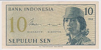 (N3-97) 1964 Indonesia 10 SEN bank note (F)