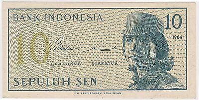 (N3-93) 1964 Indonesia 10 SEN bank note (B)