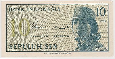 (N3-94) 1964 Indonesia 10 SEN bank note (C)