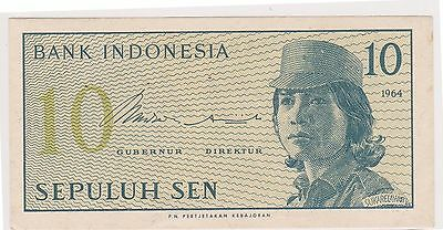 (N3-98) 1964 Indonesia 10 SEN bank note (G)