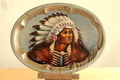 Native Indian Cherokee Chief Antique Tray Hand Painted Art