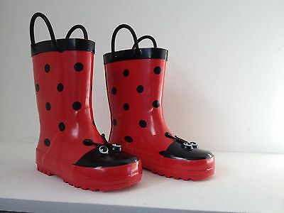 Kids Gumboots Ladybird Size 5 6 7 8 9 10 11 12 Wellies Childrens Child Free Post