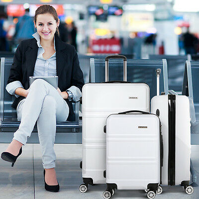 *NEW* Wanderlite 3pce ABS Hard Shell Luggage Set W/ TSA Locks, Dual Wheels White