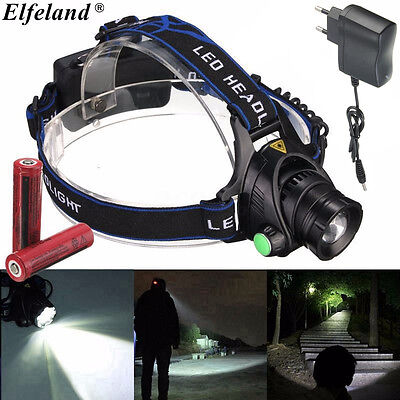 6000LM Lampe Frontale T6 LED HeadLight Rechargeable 18650 Batterie Vélo Camping