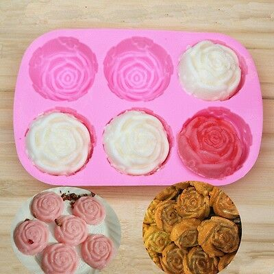 Pink Rose Shaped Silicone 6 Holes Chocolate Ice Cake DIY Soap Jelly Pudding Mold