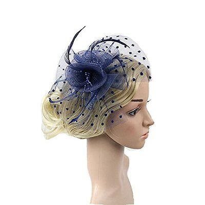 Meiliy Womens Fascinator Hat with Clip and Brooch Flower Bridal Headpieces For
