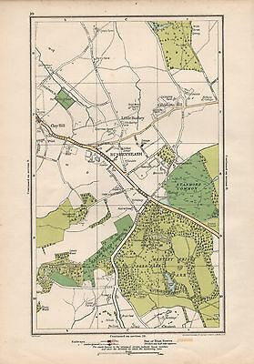 1923 London Street Map - Bushey Heath,clay Hill,caldecote Hill,bentley Priory