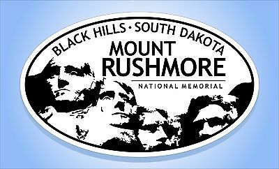 "MOUNT RUSHMORE National Memorial Oval Sticker Euro Travel Decal 3-5/8"" x 6"""