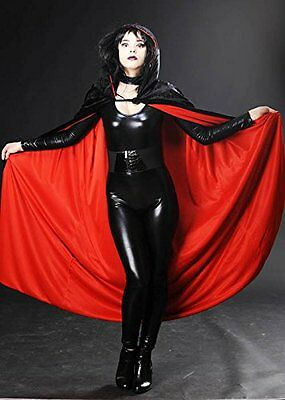 Halloween Gothic Long Black Velvet Red Lined Cape
