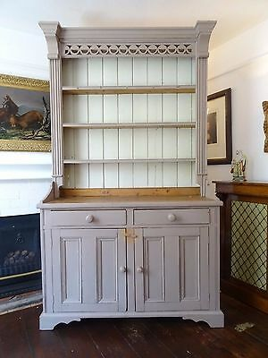 STUNNING 19thc PERIOD VICTORIAN SHABBY CHIC SOLID PINE PAINTED DRESSER SIDEBOARD
