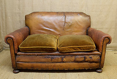 Vintage brown leather club sofa, 1930's, art deco, shabby but stylish.