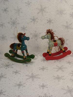 Lot Of 2 Vintage Miniature Wooden Rocking Horse Christmas Ornaments Teal & Gray