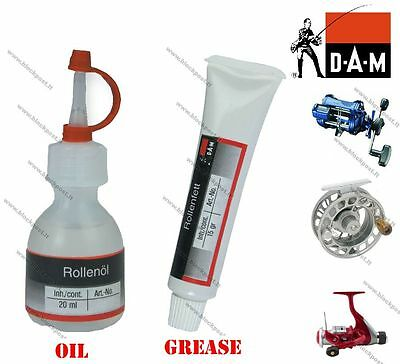 Fishing reel care accessories. DAM Fishing reel oil and grease