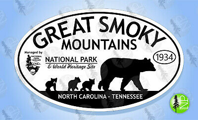 """GREAT SMOKY MOUNTAINS NATIONAL PARK Oval Sticker Euro Travel Decal 3-5/8"""" x 6"""