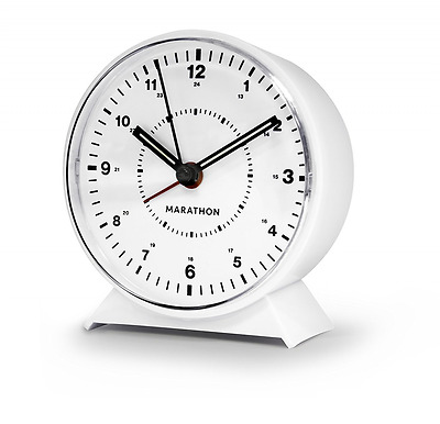 MARATHON CL034001P Mechanical Wind-Up Loud Alarm Clock Time Home Decor White NEW