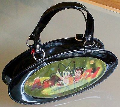 Rare Vintage Astro Boy (and Astro Girl) 3D Hologram Black Patent Vinyl Hand Bag