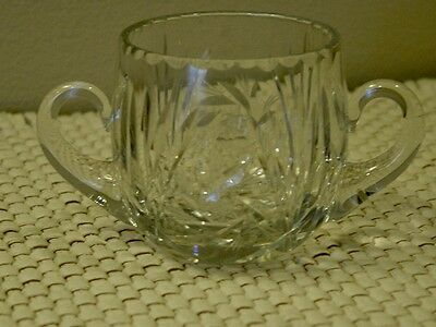 SIGNED  VINTAGE HEISEY CRYSTAL SUGAR BOWL with TWO HANDLES