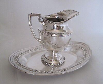 """Vintage Sheffield Epc 5"""" Creamer #x93A Matching Oval Tray Gadroon Rope Regency"""