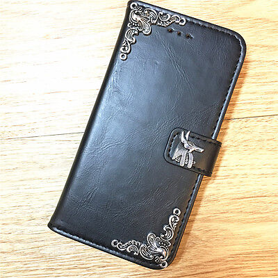 Egyptian God Anubis Wallet Leather Handmade Stand Case For Samsung Cell Phone