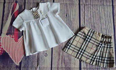 New & Used Burberry Baby Girls Designer Summer Clothes Bundle Blouse Kilt 18 Mts