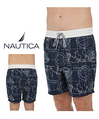 8bf1eb5731 Nwt Nautica Men's Swim Trunk Elastic Waist Band Quick Dry Swimwear Authentic