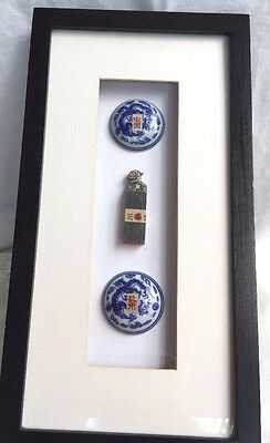 Vintage Estate Chinese 2 Ink Pot & Soapstone Foo Dog Seal In Box Frame Wall Art