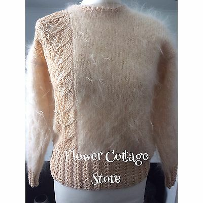 Vintage 80s  Pale Peach Oversized Fluffy Mohair & Crochet Jumper Size 8 or 10
