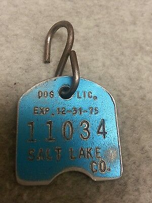 Vintage 1975 Dog License Tag Salt Lake County Utah #11034