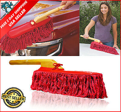 California Car Duster with Wooden Handle Safe Car Cleaning Tool Safe Clean Brush