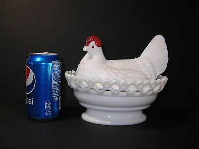 Vintage Westmoreland White Milk Glass Hen on Nest Lace Edge Basket