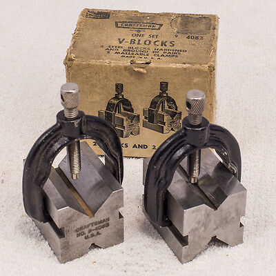 Craftsman V-Blocks One Pair with Clamps in Original Box
