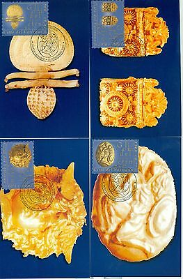 Vatican City Sc# 1197-1200: Gold Objects of the Etruscan Museum, 4 Maxi Cards