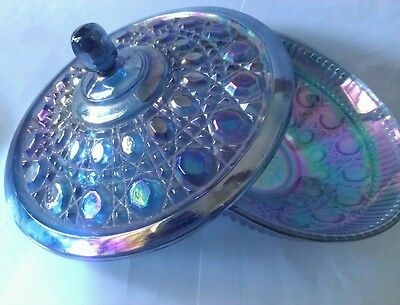 Blue/Purple Iridescent Carnival Glass Lidded Candy Bowl Windsor Indiana Glass
