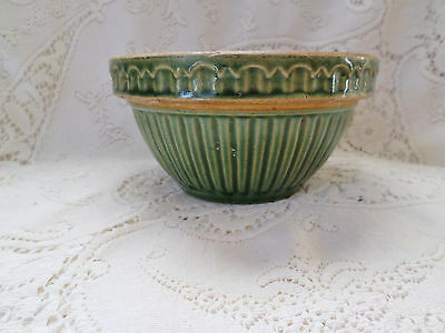 """ANTIQUE RARE McCOY 6.25"""" WIDE YELLOW WARE GREEN GLAZE SMALL MIXING BOWL"""
