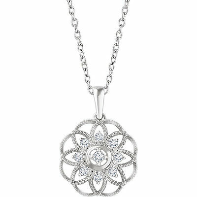 """Diamond Granulated Filigree 18"""" Necklace In Sterling Silver (1/5 ct. tw.)"""