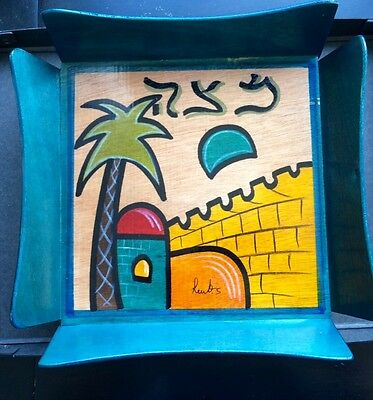 Kakadu Matzah Tray Hand Painted From Israel New with Tags and Signed by Artist
