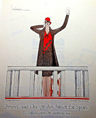 1929 Magazine Fashion Ad Print by Lepape BROWN AND ORANGE ARE SMART FOR SPORTS