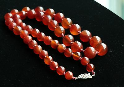 Vintage Chinese Red Carnelian Agate Bead Necklace Hand Knotted