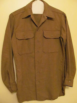 Vintage Military Army Issued Fatigue Long Sleeve Shirt 14-1/2 x 33