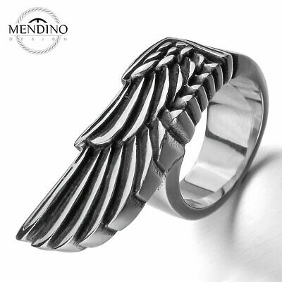 MENDINO Men's 316L Stainless Steel Ring Solid Angel Wing Band Biker Silver Tone