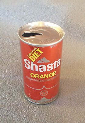 SHASTA SUGAR FREE DIET ORANGE SODA -Vintage Empty 12 oz Pull Tab Steel Soda Can