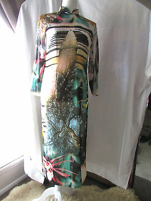 Women's Asian Chinese metaphysical silk dress with trees, pyramids and flowers