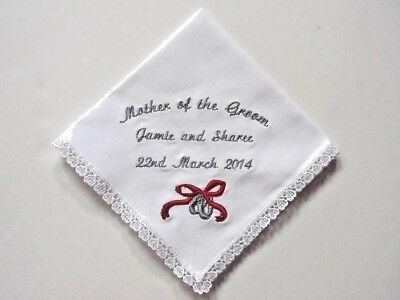 Wedding RINGS & Bow Bridal Hankie - Mother Father Handkerchief Personalize NAME