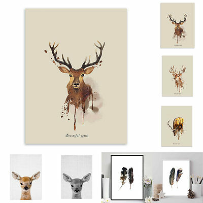 Watercolour Deer Feather Frameless Picture Retro Painting Living Room Decoration